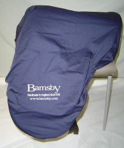 Poly / cotton twill saddle cover for Barnsby, embroidered with logo to both sides